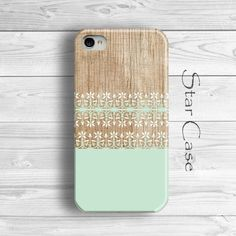 Mint iPhone 6 Case, iPhone 5s Case Wood, iPhone 5 Case, Floral iPhone 5 Case, Girly iPhone 5 Case, Tiny Flowers iPhone 5s Case by Star Case