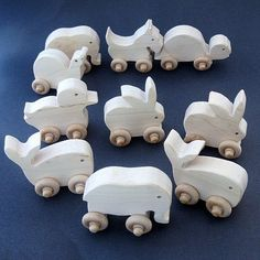 wood animal toy party pack of ten push toys by manwood on Etsy, $30.00