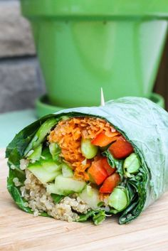 Vegan Edamame and Quinoa Collard Wrap with Sweet Ginger Dressing #vegan #entree #recipe
