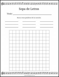Use this printable grid to make a word search with Spanish song lyrics.