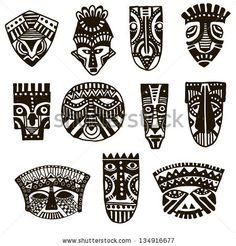 Hand drawn illustration. Ornamental element.African mask. - stock vector