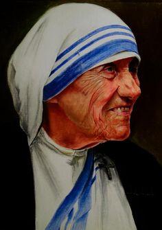 Mother Teresa - Soft pastel on paper