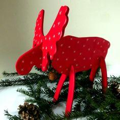 Weihnachtsfiguren - Weihnachtselch rot zusammensteckbar - ein Designerstück von KIMAMA-design-Andrea-Abraham bei DaWanda