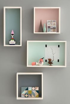 Pastel box shelves