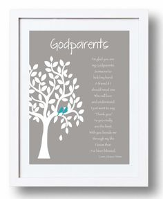 GODPARENTS personalized gift - Custom Gift for Godparents on Baptism or Communion day - Gift from Godchild - Other colors available