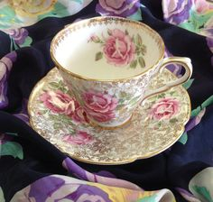 Vintage Collingwood Teacup and Saucer Made in England on Etsy, $29.50  I love teacups with pink roses inside!