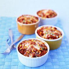 Tamale Pies - Martha Stewart Recipes thumbs up @ our house. Recipe as is made 4 little ramekins & 2 x pies! Empanadas, Freezer Cooking, Freezer Meals, Freezer Dinner, Bulk Cooking, Easy Meals, Simple Meals, Freezer Recipes, Crockpot Meals