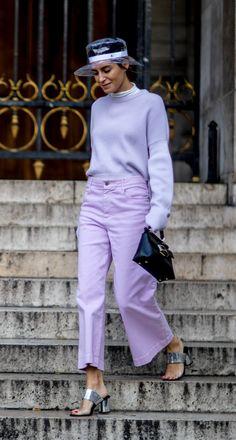 Rebecca James Paris Fashion Week Fall 2018 street style, Gala Gonzalez, purple wide leg pants, lilac color sweater and pants combo, wide leg cropped pants # Lila Outfits, Purple Outfits, Cute Spring Outfits, Colourful Outfits, Gala Gonzalez, Fashion Week, Pop Fashion, Fashion Looks, Paris Fashion