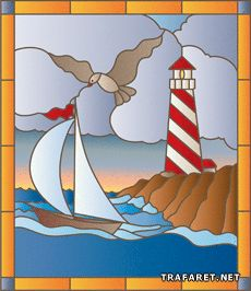 Faux Stained Glass, Stained Glass Designs, Fused Glass Art, Stained Glass Patterns, Landscape Art Quilts, Lighthouse Painting, Intarsia Woodworking, Easy Paintings, Glass Ornaments