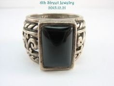 R1096 Retired Silpada Wide Sterling Silver 925 Black Chalcedony Ring Snug 8 #Silpada #Statement