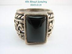 R1096 Retired Silpada Wide Sterling Silver 925 Black Chalcedony Ring Snug 8 #Silpada #Statement