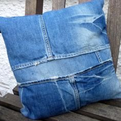 Recycled Shabby Vintage Look #Denim Cushion £9 by Damoiselle Designs on #Craftfest
