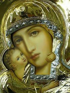 Russian Orthodox Icon of the Mother of God. This contemporary icon shows a clear delineation between the painted surface and the embossed metal frame. This is hanging above our hearth. Divine Mother, Blessed Mother Mary, Blessed Virgin Mary, Religious Pictures, Religious Icons, Religious Art, Madonna Und Kind, Madonna And Child, Queen Of Heaven