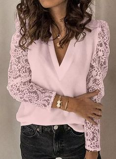 Basic Tops, Lace Sleeves, White Long Sleeve, V Neck Tops, Pattern Fashion, Shirt Blouses, Lace Shirts, Chiffon Tops, Blouses For Women