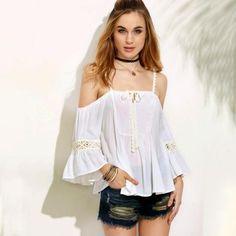 1931efde49d17 Women Summer Loose Off Shoulder Top Blackless Blouse Ladies Casual Tops  T-Shirt