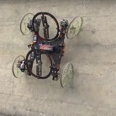 Disney Research Zurich and ETH have collaborated to produce a prototype four-wheeled robot that can climb walls using pair of tiltable propellers that provide thrust onto the wall