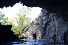 children playing at Rydal Caves