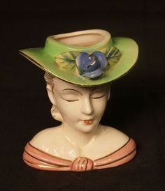 1950's Lady Head Vase used to store one's hat pins