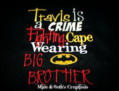 FOR MICHAEL-Super hero big brother shirt batman CUSTOM by MineNBethsCreations, $20.00