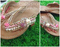 "Handmade leather sandals Χειροποίητα δερμάτινα σανδάλια ""Love is a rose"""