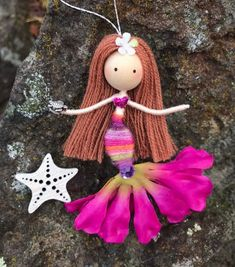 3 Year Old Arts And Crafts Refferal: 4605567781 Mermaid Fairy, Mermaid Dolls, Fairy Crafts, Doll Crafts, Animation, Mermaid Ornament, Worry Dolls, Mermaid Crafts, Clothespin Dolls