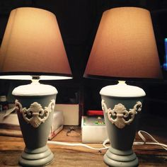 These cute little side table lamps were painted in chalk paint, added  the perfect touch to my bedroom furniture. They were a dollar each. $$$avings.