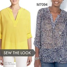 What you need: a pullover top that can go from work to weekend. Try McCall's M7094 and sew it in brightly colored silk, like the DVF inspo top. #sewthelook #DIYfashion #wesewfashion #sewing #tops #summerstyle #fabric #sew #sewingpatterns #Mccalls