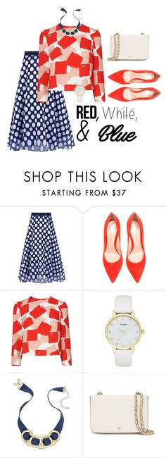 """Red White & Blue"" by christinafortierstyle on Polyvore featuring Sachin + Babi, Gianvito Rossi, Kate Spade, INC International Concepts, Tory Burch, redwhiteblue and MixPrints"