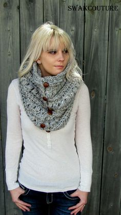 Womens Scarf Chunky Cowl 6 Button Wool Cowl Scarf Knitted Snood Cowl Unisex Cowl Gray Tweed or Choose Your Color by socorroWomens sjaal The Chunky Cowl 6 Button Wool Cap van SWAKCouture - Breien HakenKnitting Patterns Cowl I handmake 6 leather button Crochet Scarves, Crochet Shawl, Knit Crochet, Crochet Granny, Cowl Scarf, Knit Cowl, Fringe Scarf, Cowl Neck, Tweed