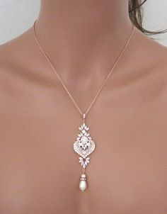 Rose Gold Braut Halskette Rose Gold Anhänger von treasures570