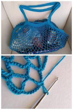 Sieťovka sa opäť vracia na výslnie. Tu je postup ako si uháčkovať svoju vlastnú, jedinečnú a len vašu:) Autorka postup: Dasa_ Crochet Market Bag, Crochet Tote, Crochet Handbags, Crochet Purses, Free Crochet, Crochet Bikini, Knit Crochet, Spa Crochet Patterns, Knitting Patterns