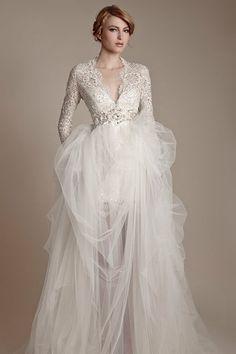 Elegant beaded lace v neck wedding dress, tulle skirt  Raxion Media | Style Ideas: Classy Wedding Dress