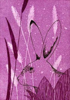 rabbit / hare - block print 2005 - Tamae Mizukami (Japan)