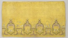 Petticoat, Italy, 1725-1760. Yellow silk satin, quilted, with silk and metallic-thread embroidery, Chinoisery design.
