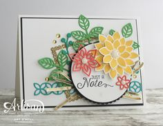 The Flourishing Phrases stamp contains beautiful sentiments and floral images that are perfect for cards for any occasion -- by Amy O'Neill