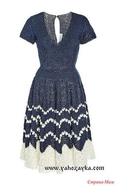 Платье Carolina Herrera отличается строгой формы покроя, вырезом, короткими рукавами и мягкой мини-юбкой. Схемы узором зиг-заг для юбки(на выбор). Схема узора для верха платья