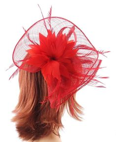 Bright Red Sinamay Large Fan Shaped Hair Fascinator on 9cm sprung clip  EBFAS -009 £28 plus pp
