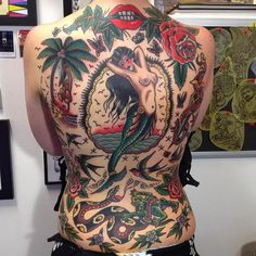 Old school Back piece Tattoo by Rachie Rhatklor Stomach Tattoos, Back Tattoos, New Tattoos, Girl Tattoos, Tattoos For Guys, Sleeve Tattoos, Floral Tattoos, American Traditional Sleeve, Traditional Ink