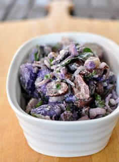 Kalamata Olive and Parsley Potato Salad - purple potatoes!