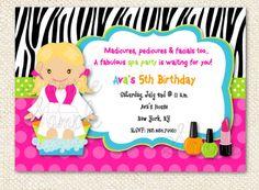 Spa party Invitations. $12.00, via Etsy. Wording on invite