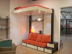 1000 ideas about lit escamotable plafond on pinterest - Lit escamotable avec banquette ...
