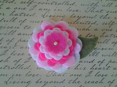 Felt Flower Hair Clip  hot pink pale pink and by LovelyFelt72, $4.50