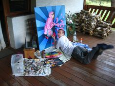 "Artist at work;) Summer of 2010 - ""Pink's not dead"" - currently in private collection in Switzerland."