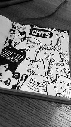Cheering with comic cats doodles 🐱 Great sketching with … Jubel mit Comic-Katzen-Kritzeleien Stifte aus & fineliner by Einfache [. Cute Doodle Art, Doodle Wall, Doodle Art Drawing, Drawing Ideas, Drawing Drawing, Plane Drawing, Picasso Drawing, Doodle Sketch, Sketchbook Drawings
