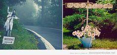 Señal indicadora de boda original en carretera
