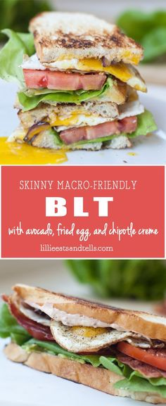 """BLT with Fried Egg and Fat Free Chipotle """"Mayo"""" - Lillie Eats and Tells Chipotle Mayo, Lunch Recipes, Real Food Recipes, Breakfast Recipes, Dinner Recipes, Healthy Recipes, Sandwich Recipes, Protein Recipes, Meals"""