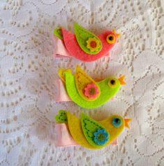 Girls Hair Clips Spring/Easter Pastel birds Felt by CutenCozyYarn; $3.50
