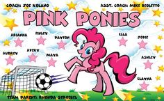 Pink Ponies B53509  digitally printed vinyl soccer sports team banner. Made in the USA and shipped fast by BannersUSA.  You can easily create a similar banner using our Live Designer where you can manipulate ALL of the elements of ANY template.  You can change colors, add/change/remove text and graphics and resize the elements of your design, making it completely your own creation.