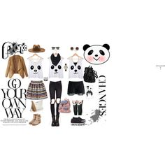 panda by adelai-da on Polyvore featuring UNIF, Chicwish, Leg Avenue, Rupert Sanderson, Doucal's, Candie's, CC SKYE, Olivia Burton, Domo Beads and Wet Seal