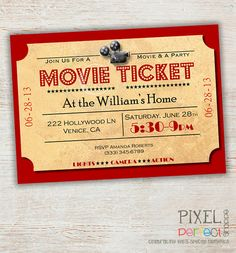Movie Night Invitation Movie Party van PixelPerfectShoppe op Etsy